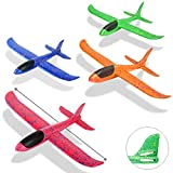 Foam Airplanes for Kids Toddler 3 Flight Mode 13.5' Foam Glider Stunt Airplane Toy for 3+ Year Old Model Airplanes Kits Aircraft Hand Throwing Planes Flying Aeroplane Birthday Party Favor Gift 4pcs