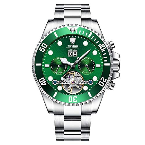 ZWH Relojes mecánicos de los Hombres TEVISE Nuevo Reloj Luminoso Reloj de múltiples Funciones Impermeable Mosca Grande. (Color : 5, Size : 43.5mm)