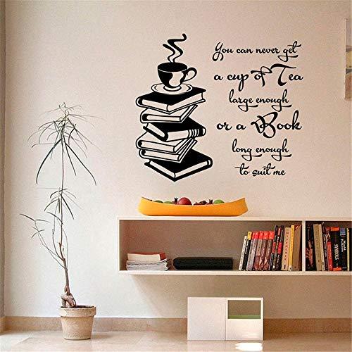 pegatinas decorativas pared Citas inspiradoras Taza de té Libro suficientemente grande Libro lo suficientemente largo Libro de lectura Decoración para el hogar