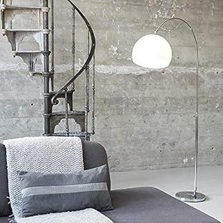 Qazqa Lampadaire | Lampe sur pied à arc Design Moderne Rétro - Arc-basic Lampe Blanc Chrome - E27 - Convient pour LED - 1 ...