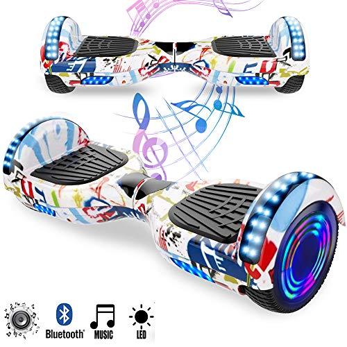 Magic Vida Skateboard Elettrico 6.5 Pollici Bluetooth con Due Barre LED Monopattini elettrici autobilanciati di buona qualità per Bambini e Adulti(Rosa)