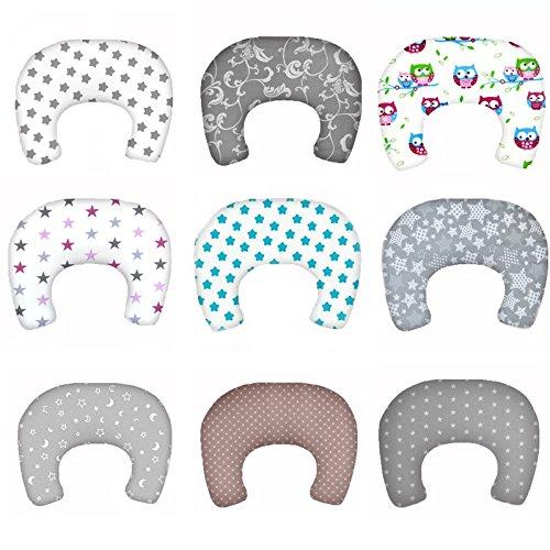 SM2 Baby Stillkissen Lagerungskissen mit Baumwollbezug Bettkopfschutz Kissen 130 cm (Grau/Sterne Nr. 23)
