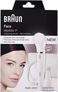 Braun Face 831 Beauty Edition - Facial Cleansing Brush and Facial Epilator w Lighted Mirror
