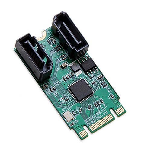 I/O Crest M.2 B+M Key 22x42 PCIe Bus to 2 Ports SATA 6 G III RAID Controller Adapter Card Chipset ASM1061R