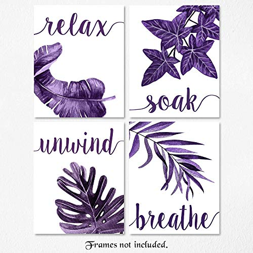 Relax Soak Unwind Breathe Purple Blend Bathroom Tropical Leaves Signs Poster Prints, Set of 4 (8x10) Unframed Photos, Wall Art Decor Gifts Under 20 for Home, Office, College Student, Teacher
