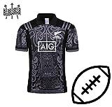 FJXJLKQS Maori édition Spéciale Maillot De Rugby Entraînement Écosse Domicile Football Maillot Vêtements Jeunes Rugby T-Shirt Sports Top Manches Courtes,Grey-XXXL