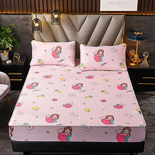 Zachte, verkoelende, ademende onderplaten,ijszijde latex hoeslakens, antislip beschermingsmat voor slaapkamer appartement hotel-roze_2_150cmx200cm