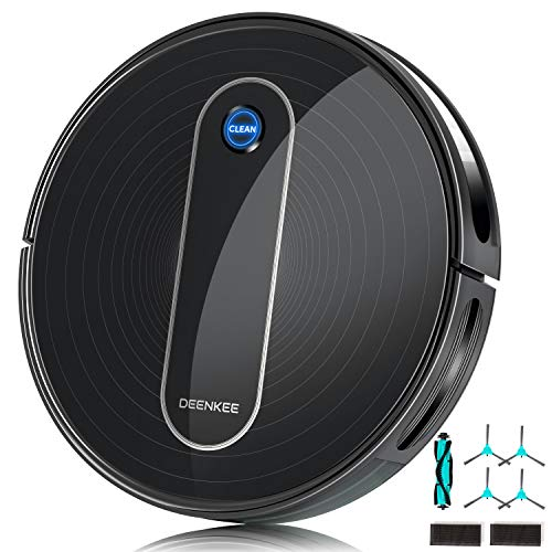Deenkee Robot Vacuum Cleaner, Upgraded 1500Pa Suction, Quiet, Self-Charging, Super-Thin, Anti-Collision, Smart Navigation, Robotic Vacuum with Multiple Cleaning Modes for Pet Hair Carpets Hard Floors