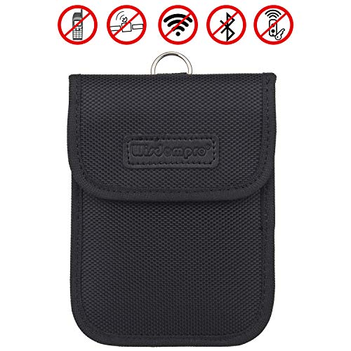 Faraday Bag for Key Fob, Wisdompro WP4694 RFID Key Fob Protector RF Car Signal Blocking, Anti-Theft Pouch, Anti-Hacking Case Blocker - Black