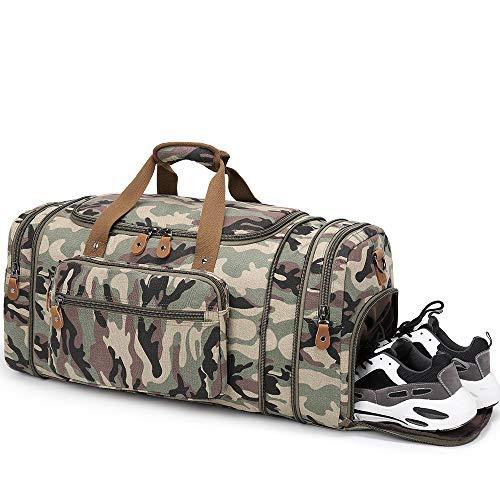 Plambag 50L - Bolsa de lona expandible con compartimento para zapatos, bolsa de transporte grande para hombres con funda de carro, multibolsillos, bolsa de viaje para la noche, bolsa de semana, para hombre y mujer, equipaje, camuflaje (Multicolor) - PB0163CF