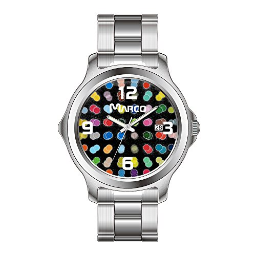 FDC–Navidad Regalo Relojes Fashion Fecha Acero Inoxidable Reloj de Pulsera de Cuarzo japonés de la Mujer 3D Lunares May28th Reloj