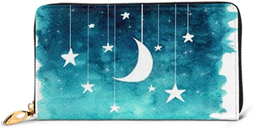 Fashion Handbag Zipper Wallet Moon Stars Hanging Strings Painted Watercolor Phone Clutch Purse Evening Clutch Blocking Leather Wallet Multi Card Or