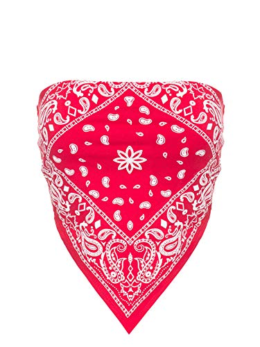 Design by Olivia Women's Sexy Paisley/Tie Dye Bandana Tube Crop Top Shirt- Made in USA Red S