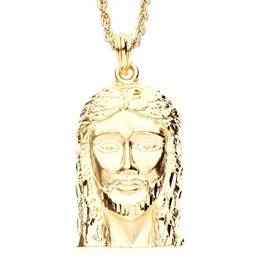.iced-out. Bling Diamond Cut Anhänger - Jesus FACE Gold
