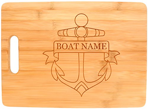 Customized Boating Gift Nautical Boat Name Anchor Personalized Big Rectangle Bamboo Cutting Board