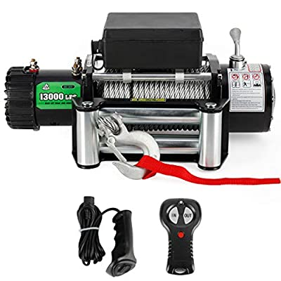 Powersports Winch for Jeep, OFF ROAD BOAR 12V DC Electric Winch Kit for ATV/UTV, 13000Lb. Load Capacity Waterproof Towering Winch with Steel Wire Rope, Wireless/Hand Remote Controller