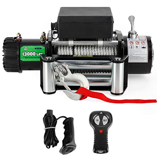OFF ROAD BOAR 13000-lb. Load Capacity Electric Winch Kit, 12V Steel Cable Winch with Roller Fairlead, Waterproof IP67 Towing Winches with Both Wireless Handheld Remote and Corded Control