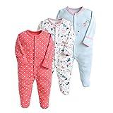 Pijama para bebé, pelele, paquete de 3, unisex, de algodón, 3 a 12 meses rojo rojo Talla:0-3 meses