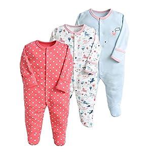 Pijama para bebé, pelele, paquete de 3, unisex, de algodón, 3 a 12 meses rojo 3-6 Monate