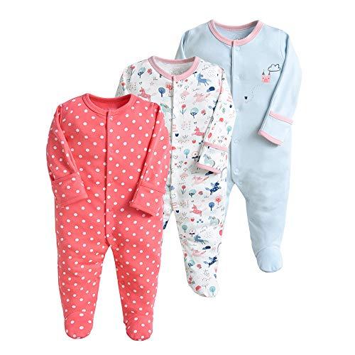 Pijama para bebé, pelele, paquete de 3, unisex, de algodón, 3 a 12 meses rojo 6-9 Monate