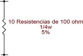 10X Resistencias de carbón 100 Ohm 1/4W 0,25W 5%