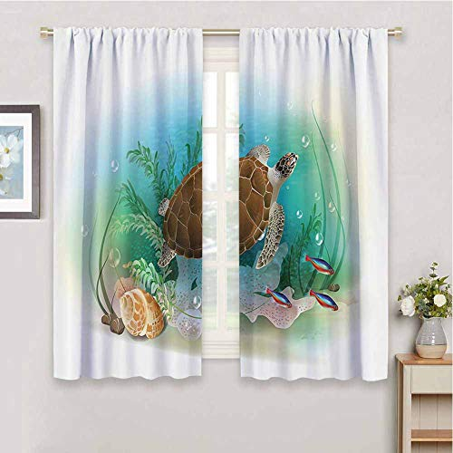 Ocean Decor Blackout Curtains for Bedroom, Curtains 63 inch Length Sea Turtle Swims in The Ocean Tropical Underwater World Aquarium Illustration Print Cafe Curtain Green Brown W72 x L63 Inch