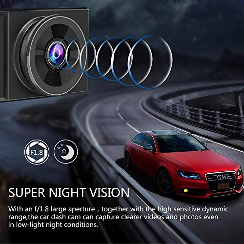 AWESAFE 4K Dash Cam with GPS UHD 3 inch Dash Camera for Cars with Night Vision, 170° Wide Angle, Motion Detection, Parking Monitoring, G-Sensor, Loop Recording, 32GB Class 10 SD Card