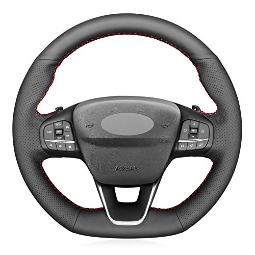 unknow Schwarze Lenkradabdeckung aus PU-Leder für Ford Focus ST-Line Fiesta ST-Line 2018-2019 Focus ST 2019-2020 Fiesta ST 2019