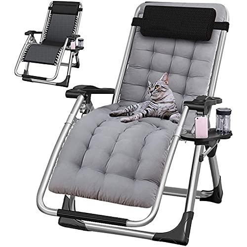 HYDDG Sillas de salón de Patio de Gran tamaño Plegable reclinable, sillas de Gravedad Cero Ajustables Ligero al Aire Libre, para césped/Piscina/jardín/Playa, Puede soportar 220 kg / 450 Libras