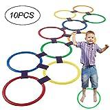 Romote Hopscotch Ring Game Toys 10 Multicolores Anneaux en Plastique Et 9 Connecteurs pour Intérieur Ou Extérieur Utilisez-Fun Creative Ensemble De Jeu pour Filles Et Garçons