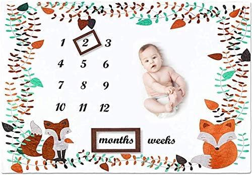 Fox Baby Milestone Blanket Boy Girl Large 78x100 cm Fleece Weekly Monthly Milestone Blanket product image