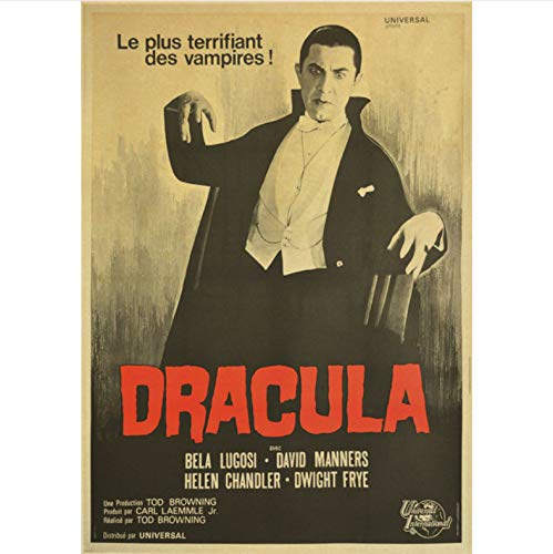 Li han shop Dracula Horror Movie Classic Vintage Poster Home Decoration Retro Wall Poster Picture Print Home Wallpaper B73 40X50Cm Sin Marco
