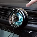 Car Air Vent USB Fan Auto Cooling Fan with Colorful Light/Suction Cup Car USB Fan/Car Mini Air Conditioner Freshener Vent Clip Fan (Air Vent Fan Black)