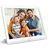 10 Inch Digital Picture Frame 16:9 1920x1080 IPS Widescreen, Digital Photo Frame Supports Adjustable Slideshow & Brightness 1080P FHD Video Music Alarm 128G SD-White