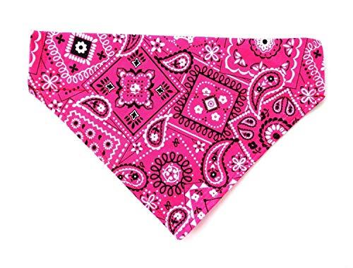 Classic Pink Bandana Print for Dog Cat Reversible Slip Over the Collar No Tie Petwear Neckwear