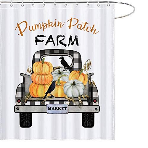 MAEZAP Pumpkin Farm Truck Fall Duschvorhang Bauernhof Markt Herbst Bad Decor Wasserdicht Polyester mit Haken 179,9 x 177,8 cm