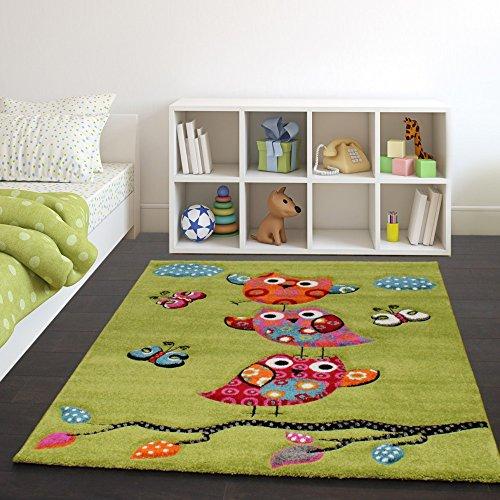 Paco Home Kinder Teppich Niedliche Eulen Grün Creme Rot Blau Orange, Grösse:140x200 cm