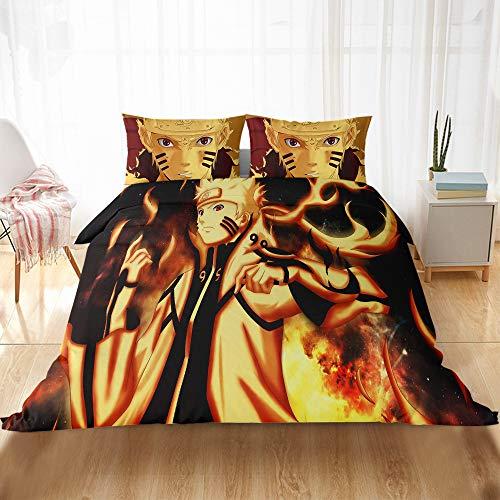 WYWZDQ - Juego de cama infantil con impresión digital 3D, diseño clásico de Naruto clásico, microfibra, antialérgico, ropa de cama con funda de edredón y funda de almohada (10,220 x 240 cm)