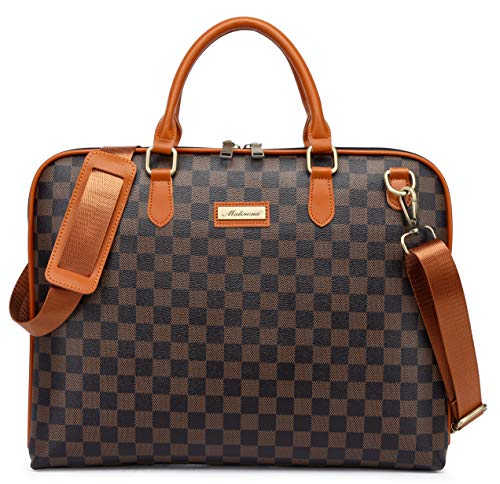 Malirona Laptop Shoulder Bag Water Resistant Laptop Case for MacBook Pro, MacBook Air, Notebook Computer Carry Case (13-13.5inch, Brown plaid)