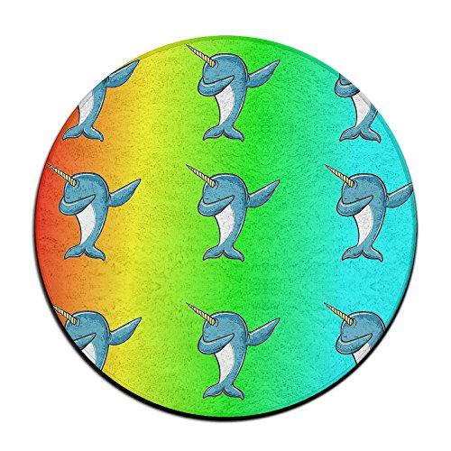 Rainbow Tamponnant Narwhal antidérapant Tapis Circulaire Tapis de Moquette Salle à Manger Chambre à Coucher Tapis Tapis de Sol 59,9 cm
