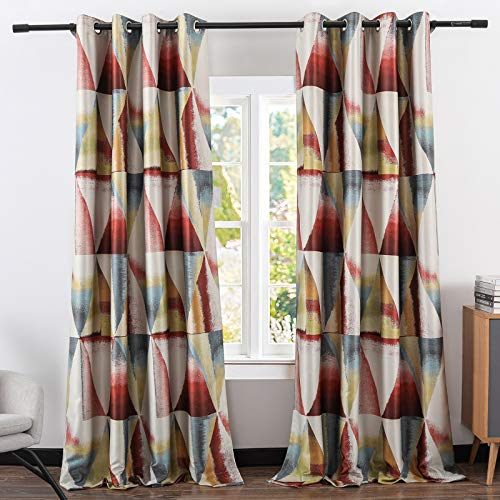 Leeva Blackout Red Window Curtains for Dining Room, Geometric Modern Room Darkening 96 Inch Long Heavy Curtain and Drapes for Nursery, Set of 2 Panels