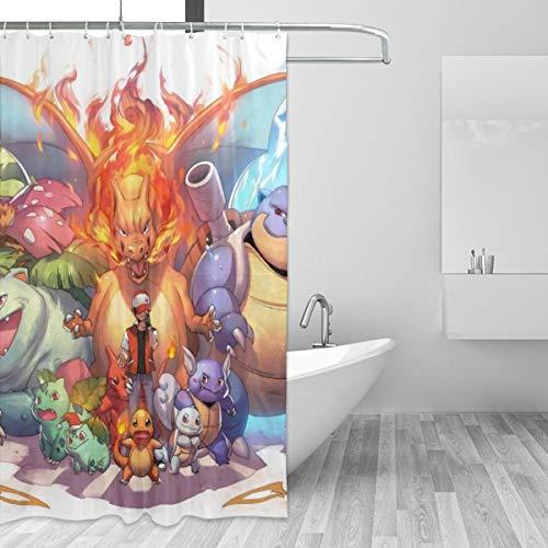 BLACKbiubiubiu Poke Pikachu Duschvorhang, 152,4 x 182,9 cm, Bedruckt, wasserfest