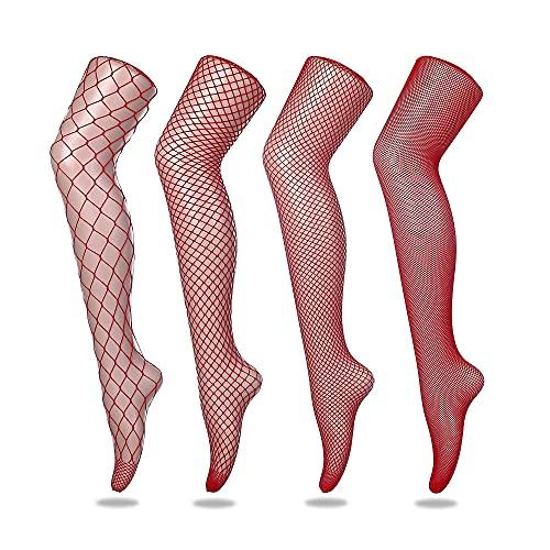FLORA GUARD Medias de rejilla de medias de cintura alta, 4 pares de medias de rejilla de cintura alta con 4 tipos (Rojo) (Ropa)