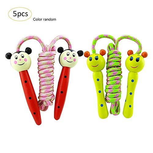 Navigatee 5PCS / Set Springseile - Holz Cartoon Spielzeug Holzgriff Student Kleine Springseil Kinder Unterhaltung Fitness Springseil Geschenk Preis