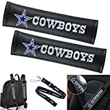 2 Pack Black Carbon Fiber Car Seat Belt Shoulder Pads and 1 Pack NFL Lanyard, NFL Team Dallas Cowboys Car Seat Belt Pad Cover, Soft Car Safety Seat Belt Strap Shoulder Pad for Adults and Children