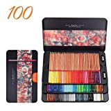 Berrd 24/36/48/72/100 Colores Juego de lápices lapices de Colores Profesionales crayones para Colorear Juego de lápices de Dibujo al por Mayor - Caja de Lata de 100 Colores