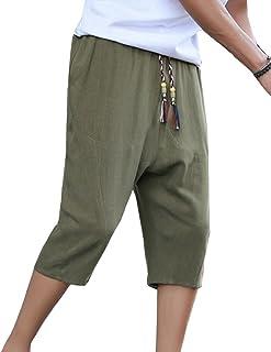 Homme Pantacourt Pantalon en Lin Large Sarouel Décontracté Léger  Confortable Respirant Shorts Bermudas