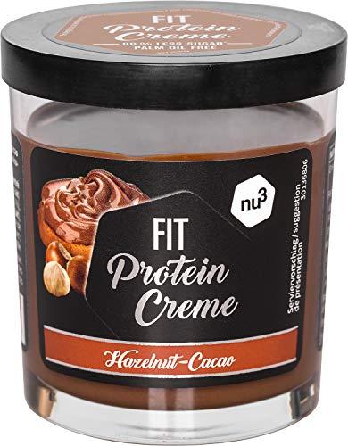 nu3 Fit Protein Crème 200g - Pâte à tartiner sans huile de palme goût Chocolat Noisettes - Pâte à tartiner protéinée végétarienne avec 21% de protéines - Sans sucre ajouté et sans gluten