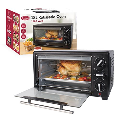 Quest 35390 Mini Oven with Rotisserie, 18 Litre, 1280 Watt, 45.3 x 31.3 x 26.3cm