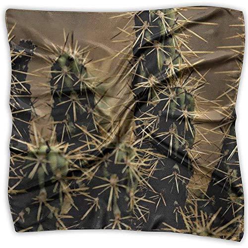 Quadratischer Seidenschal, Kaktuspflanzendornen Zimmerpflanze Quadratisches Stirnband, schöne quadratische Seidenwickel für Sportfisch
